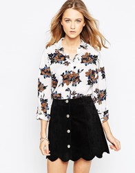 Influence Floral Oversized Shirt White