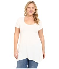 Christin Michaels Plus Size Joselyn Short Sleeve Top Ivory Women's Clothing White