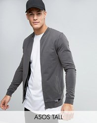Asos Tall Muscle Fit Jersey Bomber Jacket With Distressing In Washed Black Black Olive