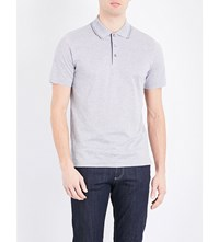 Canali Striped Cotton Jersey Polo Shirt Grey