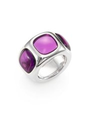 Pomellato 67 Amethyst And Sterling Silver Wide Band Ring No Color