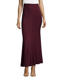 Donna Karan Gored Long Jersey Skirt Claret