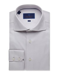 David Donahue Trim Fit Tonal Twill Dress Shirt Gray