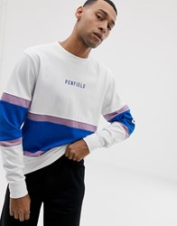 Penfield Contrast Panel Crew Neck Sweatshirt With Chest Logo Embroidery In White