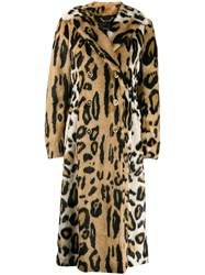 Versace Leopard Print Double Breasted Coat Brown