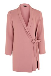 Topshop Petite Tie Side Blazer Dress Rose