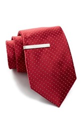 Broletto Silk Jones Dot Tie And Tie Pin Red