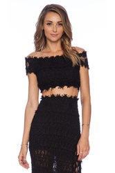 Nightcap Florence Lace Off Shoulder Top Black