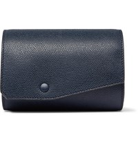 Valextra Pebble Grain Leather Watch Roll Blue
