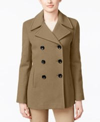 Calvin Klein Petite Wool Cashmere Blend Double Breasted Peacoat Camel