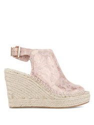 Kenneth Cole Olivia Brocade Fabric Wedge Espadrilles Rose Gold