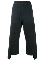 By Walid Asymmetric Patchwork Detail Trousers Black