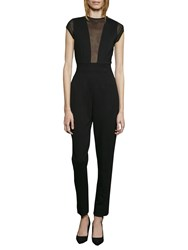 French Connection Marie Sleeveless Chiffon Jumpsuit Black