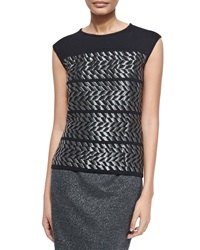 Escada Jewel Neck Metallic Chevron Tank Black