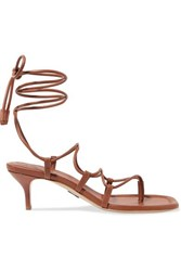 Paul Andrew Wrap It Up Leather Sandals Brown