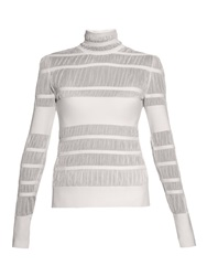 Alexander Mcqueen Striped Knit High Neck Sweater