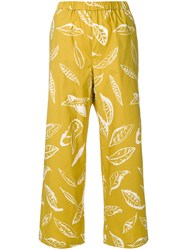 Aspesi Leaf Print Trousers Yellow And Orange