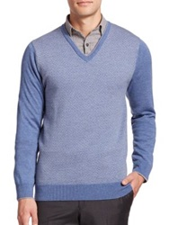 Saks Fifth Avenue Merino Wool V Neck Sweater Blue Beige
