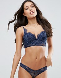 Asos Ferne Eyelash Lace Moulded Bra Navy Blue