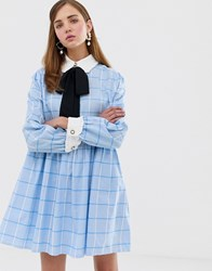 Sister Jane Mini Smock Dress With Pussybow In Large Scale Check Blue