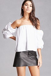 Forever 21 Woven Off The Shoulder Crop Top White