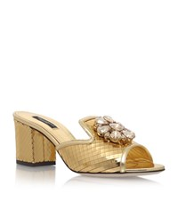 Dolce And Gabbana Bianca Metallic Jewel Slides 60 Female Gold