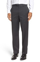 Riviera Men's Flat Front Solid Wool Trousers Charcoal