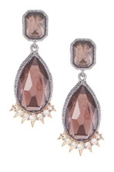 Alexis Bittar Elements Pink Tourmaline Crystal Dangle Earrings Brown