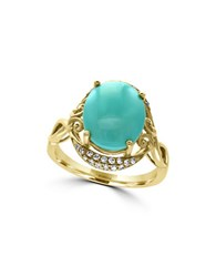 Effy Turquesa 0.15Tcw Diamonds Turquoise And 14K Yellow Gold Ring