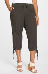 Plus Size Women's Xcvi Drawstring Tie Capri Pants Cafe