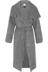 By Malene Birger Eclipse Belted Brushed Woven Coat Gray