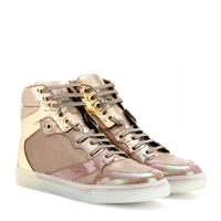 Balenciaga Metallic Leather High Top Sneakers Bs Ov Ov