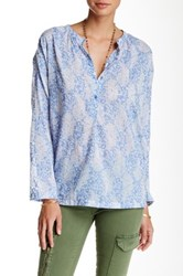 Ganesh Printed Long Sleeve Blouse Blue