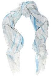 Maje Frayed Cotton Gauze Scarf Light Blue