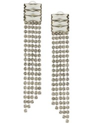 Alberta Ferretti Crystal Waterfall Earrings Metallic