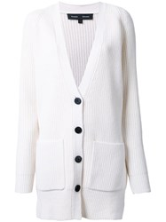 Proenza Schouler Long Ribbed Cardigan White