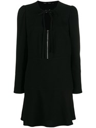 Proenza Schouler Textured Crepe Long Sleeve Dress Black