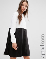 Asos Petite Colourblock Shirt Dress Black White Multi