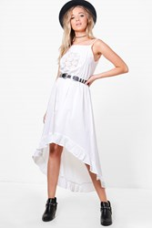 Boohoo Boutique Tyra Crochet Lace Boho Midi Dress White