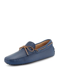 Tod's Braided Pebbled Leather Driver Blue
