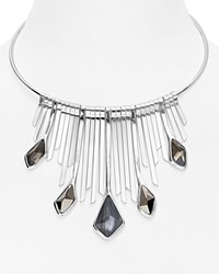 Robert Lee Morris Soho Statement Collar Necklace Gray Silver