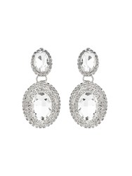 Mikey Twin Oval Stone Marquise Drop Clip On Ea White