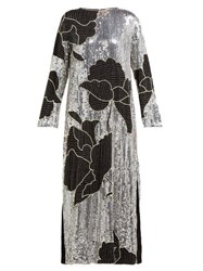 Dodo Bar Or Gladys Floral Sequinned And Beaded Shift Dress Silver