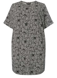 Dorothy Perkins Curve Plus Size Grey Floral Checked Tunic