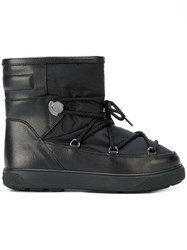 Moncler New Fanny Snow Boots Calf Leather Nylon Wool Rubber Black
