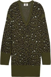 Topshop Unique Exhall Leopard Intarsia Jacquard Knit Sweater Dress Army Green