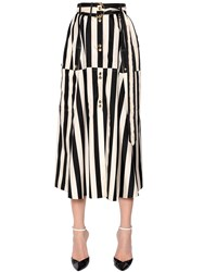 Nina Ricci Striped Silk Satin Midi Skirt