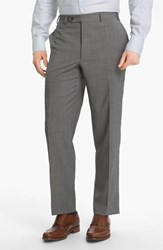 Men's Big And Tall Canali Flat Front Wool Trousers Light Grey