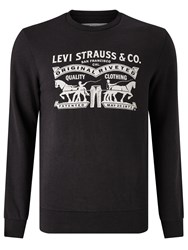Levi's Two Horse Graphic Crew Neck Sweatshirt Black