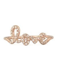 Sydney Evan 14K Rose Gold Diamond Love Script Ring Rose Gold 7